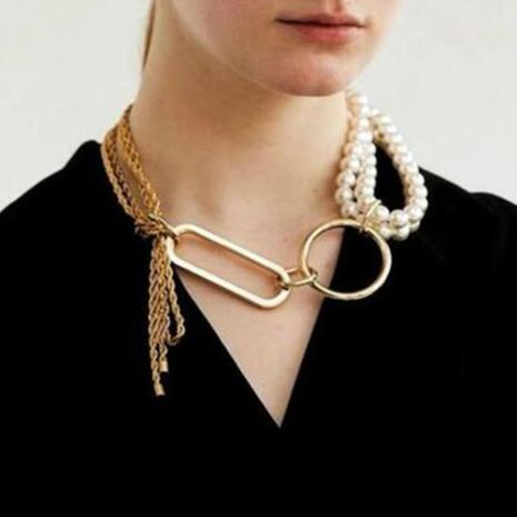 creative light luxury trend jewelry fashion alloy chain pearl stitching necklace clavicle chain wholesale nihaojewelry NHMD224566's discount tags