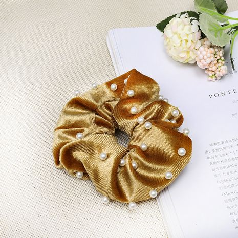 Korean temperament gold velvet cloth headwear nail pearl hair ring large intestine ring hair rope head flower hair accessories wholesale nihaojewelry NHDM224569's discount tags