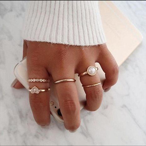 New jewelry fashion trend popular pearl peach heart diamond love ring 5-piece joint ring wholesale nihaojewelry NHGY224574's discount tags