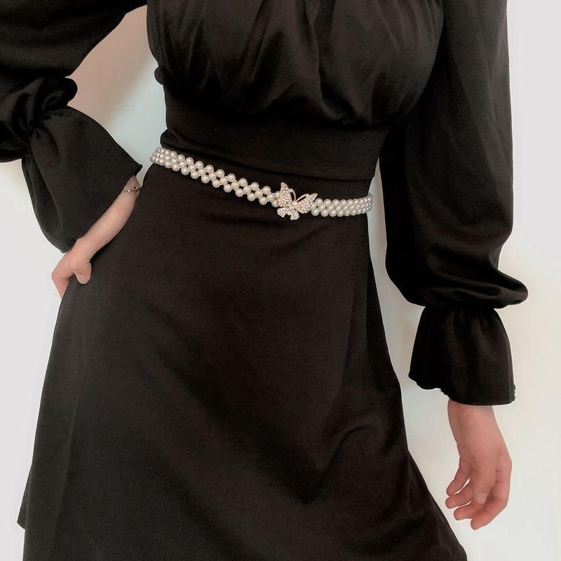 fashion jewelry personality handmade micro inlaid hollow body chain temperament wild imitation pearl butterfly waist chain wholesale nihaojewelry NHXR224609