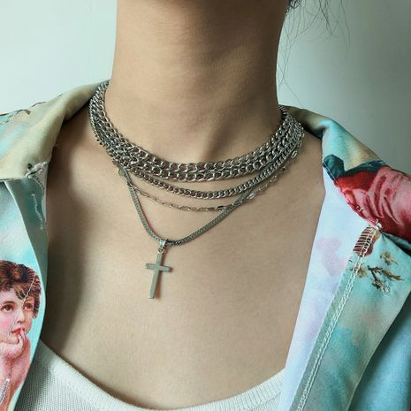 fashion jewelry personality hip-hop metal snake bone ornament geometric multilayer chain cross punk necklace wholesale nihaojewelry NHXR224612's discount tags