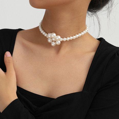 Joyería de moda temperamento dulce collar tejido de una sola capa simple hecho a mano flores geométricas collar de perlas de imitación al por mayor nihaojewelry NHXR224615's discount tags