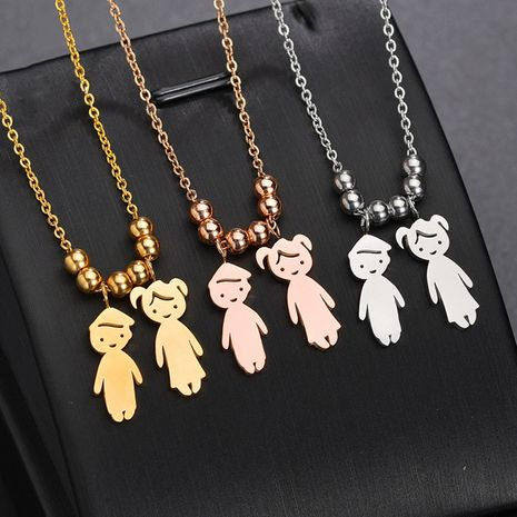 personality boy girl necklace stainless steel DIY free combination lettering good friend family necklace wholesale nihaojewelry NHHF224301's discount tags