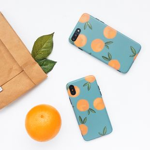 iPhone 11 retro blue oranges all-inclusive soft shell suitable for iphone8 plus female models mobile phone shell anti-fall cover XR wholesale nihaojewelry NHFI224643's discount tags