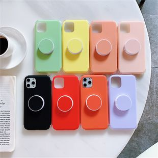 Candy color apple 11pro all-inclusive stand liquid mobile phone case for iPhoneXS MAX silicone case wholesale nihaojewelry NHFI224652's discount tags