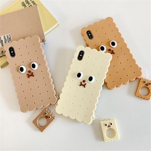 Cartoon biscuit villain 8plus mobile phone shell suitable for iphonexs max silicone all-inclusive soft shell lanyard anti-fall wholesale nihaojewelry NHFI224657's discount tags