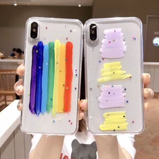 hand-painted rainbow mobile phone case for Iphone x/iphoneXSMAX Epoxy soft transparent wholesale nihaojewelry NHFI224665's discount tags