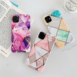 Creative electroplating stitching geometric marble anti-fall soft shell p30pro suitable for iPhone xs max all-inclusive wholesale nihaojewelry NHFI224670's discount tags