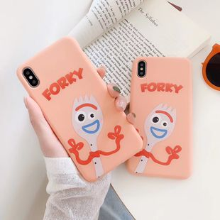 Toy Story Fork mobile phone shell for Apple XS MAX/XR painted orange soft shell wholesale nihaojewelry NHFI224678's discount tags