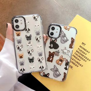Cartoon bulldog puppy apple 11 Promax mobile phone shell for iphone xs 8plus transparent soft shell wholesale nihaojewelry NHFI224690's discount tags