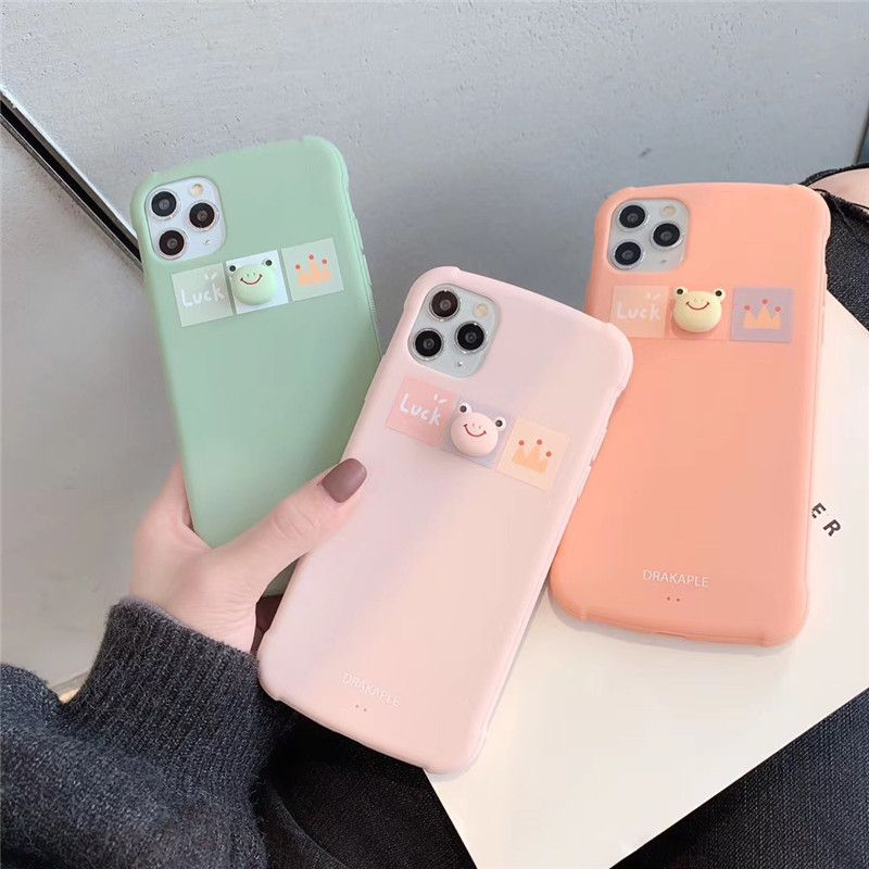 Three-dimensional cartoon frog new mobile phone shell suitable for iPhone XS MAX/XR painted TPU soft shell wholesale nihaojewelry NHFI224691
