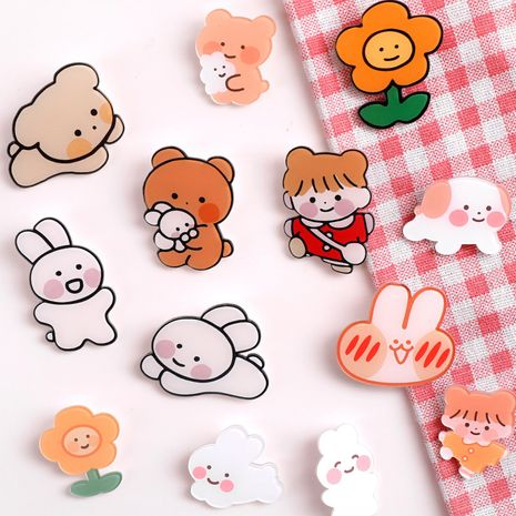 Cartoon cute little brooch creative shape small fresh exquisite mini pin clothes accessories wholesale nihaojewelry NHHE224710's discount tags