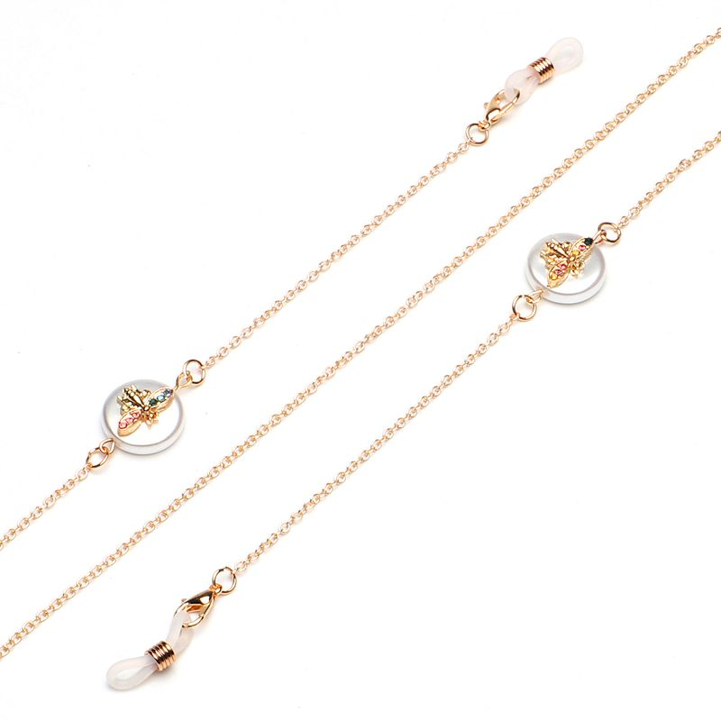 Nonslip popular metal glasses rope golden bee pearl rhinestone pendant glasses chain wholesale nihaojewelry NHBC224720