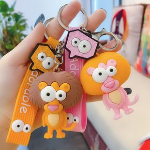 little lion doll pendant keychain cartoon cute car key chain ring student  bag ornaments wholesale nihaojewelry NHBM224743's discount tags