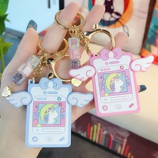 Cartoon cute soft sister notepad keychain cartoon unicorn pendant car key chain ring wholesale nihaojewelry NHBM224745's discount tags