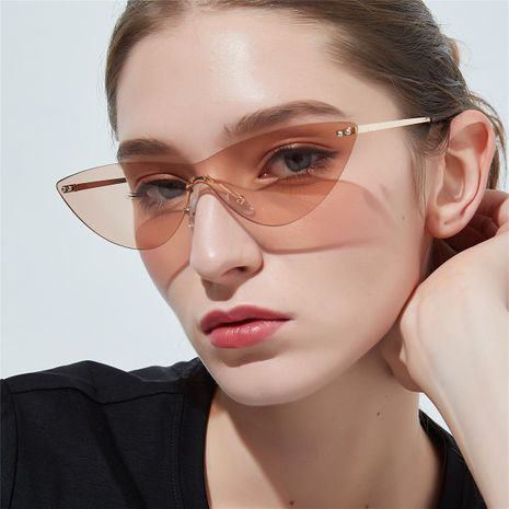 sunglasses cat eye retro glasses anti-UV transparent pink mirror wholesale nihaojewelry NHXU224820's discount tags