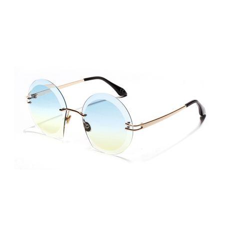 Round Frameless Sunglasses Diamond Cut Glasses Metal Sunglasses wholesale nihaojewelry NHXU224849's discount tags