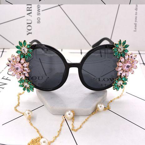 new baroque nightclub exaggerated catwalk sunglasses round metal diamond sunglasses women wholesale nihaojewelry NHNT224925's discount tags