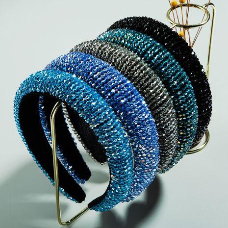 Sponge Hair Hoop High-end Luxury Gold Velvet Hand Beaded Wide-brimmed Korean Super Fairy Headband NHLN224970's discount tags