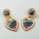 fashion ladies exaggerated love earrings alloy color rhinestones retro long Korean heart  diamond earrings NHLN224975