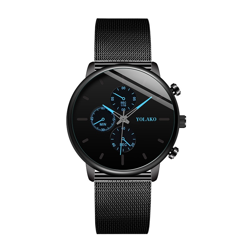 fashion ultra-thin men's business casual mesh belt watch three-eye six-pin quartz watch wholesale nihaojewelry NHLN224996