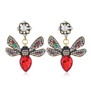 metal simple shine gem bee fashion temperament exaggerated earrings wholesale nihaojewelry NHSC225578's discount tags