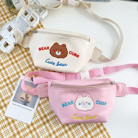 soft cute cartoon embroidery bear crossbody bag student chest bag wholesale nihaojewelry NHHX225031's discount tags
