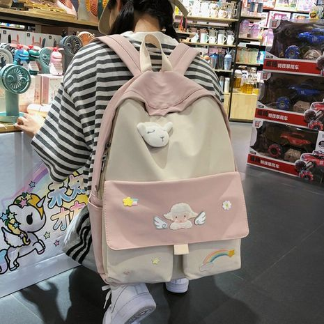 Korean fashion college style creative personality rainbow little sheep angel wings little stars Velcro girl student schoolbag wholesale nihaojewelry NHHX225036's discount tags