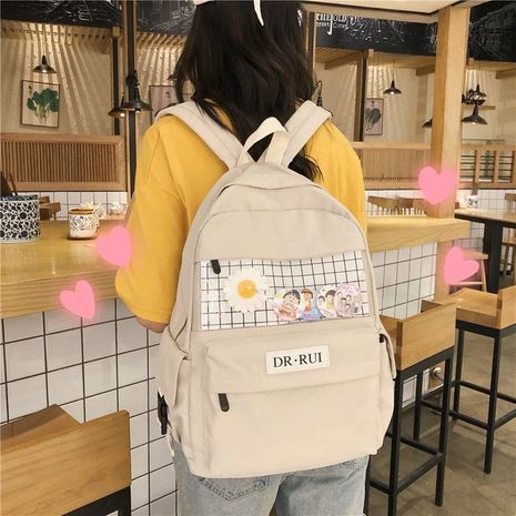 Schoolbag Korean campus vintage girl student bag plaid backpack wholesale nihaojewelry NHHX225039's discount tags