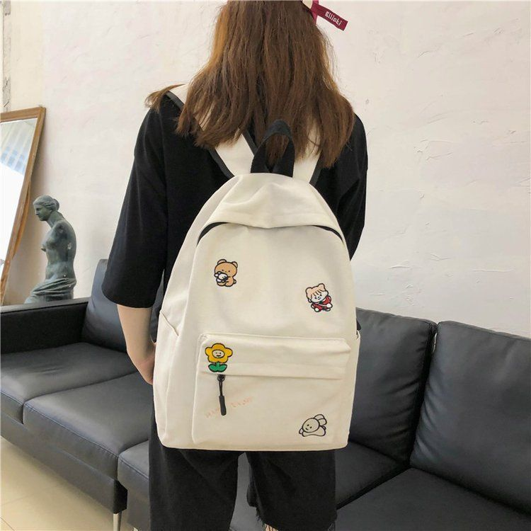 Korean cute embroidery cartoon student canvas bag Harajuku girl wild backpack wholesale nihaojewelry NHHX225041