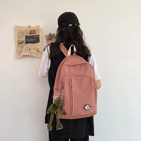 Schoolbag new Korean fashion campus large capacity solid color backpack simple backpack wholesale nihaojewelry NHHX225042's discount tags