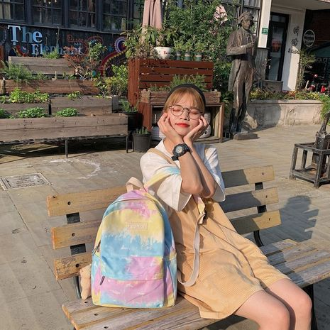 Schoolbag new Korean fashion gradient color tie-dye girl student schoolbag backpack wholesale nihaojewelry NHHX225043's discount tags