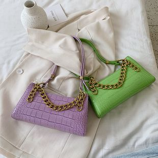 Été nouvelle chaîne sac à main sauvage crocodile texture sac à bandoulière mode couleur unie aisselle sac en gros nihaojewelry NHPB225051's discount tags