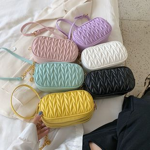 new summer solid color embroidery thread chain shoulder camera bag fashion fold crossbody bag wholesale nihaojewelry NHPB225061's discount tags