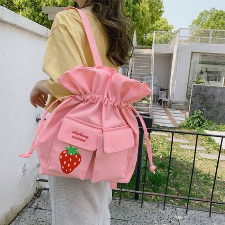 cute sweet embroidery strawberry fruit drawstring shoulder bag girl cute student shoulder bag wholesale nihaojewelry NHHX225090's discount tags