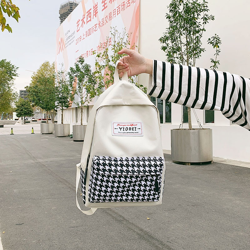 Canvas plaid backpack new Korean fashion wild large capacity backpack student bag wholesale nihaojewelry NHGA225092