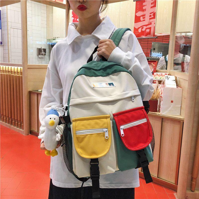 Korea cute girl schoolbag hit color street shot junior high school backpack student backpack wholesale nihaojewelry NHGA225097