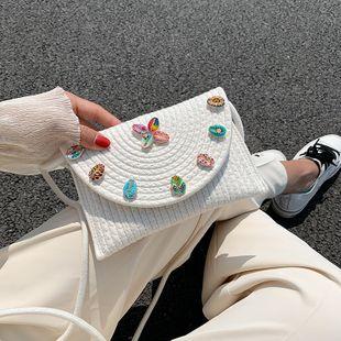 Coton corde tissé mode enveloppe sac d'été nouveau sac de paille bébé princesse épaule sac de messager en gros nihaojewelry NHGA225114's discount tags