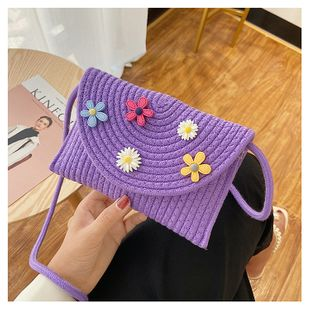 New straw bag summer fashion woven crossbody bag shoulder bucket bag wholesale nihaojewelry NHGA225120's discount tags