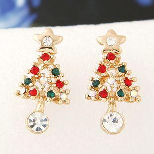 Korean fashion sweet OL flash diamond Christmas tree personality earrings wholesale nihaojewelry NHSC225568's discount tags