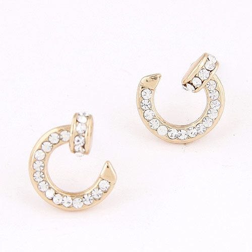 Boutique Korean fashion sweet flash diamond rivet personalized earrings wholesale nihaojewelry NHSC225564