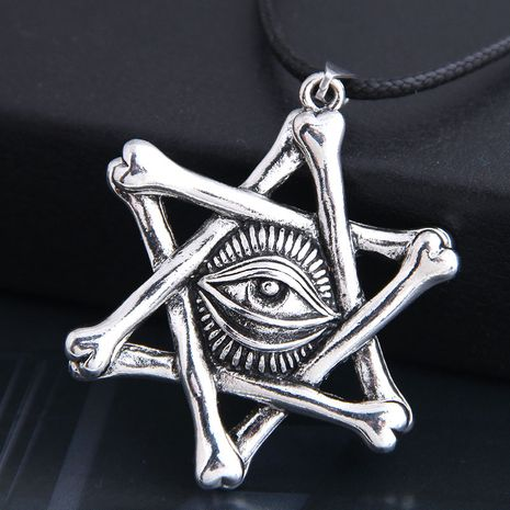 new fashion men domineering retro devil's eye five-pointed star personality necklace wholesale nihaojewelry NHSC225562's discount tags