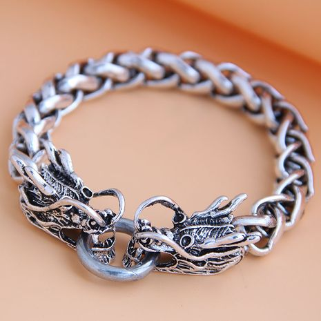 new fashion metal simple auspicious dragon temperament men's bracelet wholesale nihaojewelry NHSC225550's discount tags