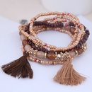 new trend Bohemian celebrity style mix and match rice beads accessories tassel temperament multilayer bracelet wholesale nihaojewelry NHSC225548