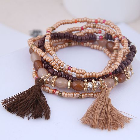 new trend Bohemian celebrity style mix and match rice beads accessories tassel temperament multilayer bracelet wholesale nihaojewelry NHSC225548's discount tags