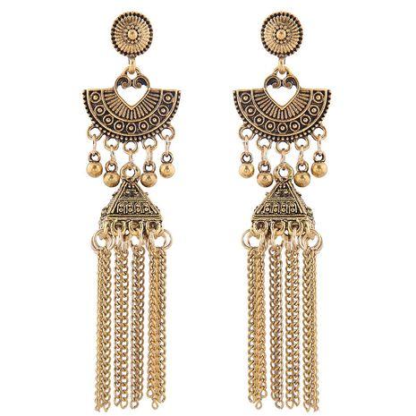 new retro texture bohemian celebrity style simple bells drip tassel temperament earrings wholesale nihaojewelry NHSC225291's discount tags