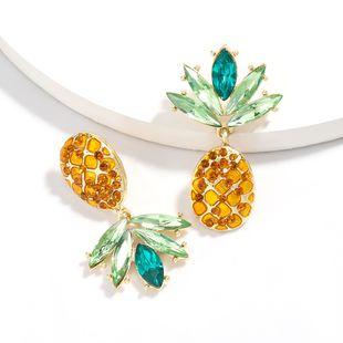 Korean cool summer trend fruit diamond pineapple earrings wholesale nihaojewelry NHJE225296's discount tags