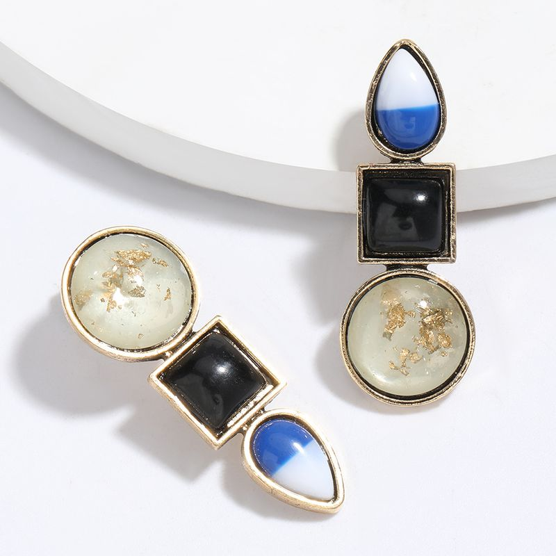 Simple new alloy inlaid resin geometric earrings retro wholesale nihaojewelry NHJE225297