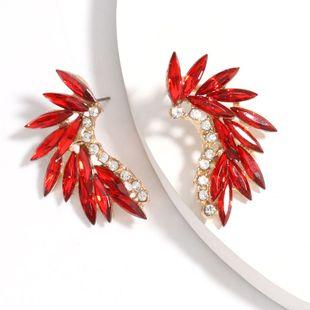 Fashion minimalist curved alloy diamond-set rhinestone full diamond earrings wholesale nihaojewelry NHJE225298's discount tags