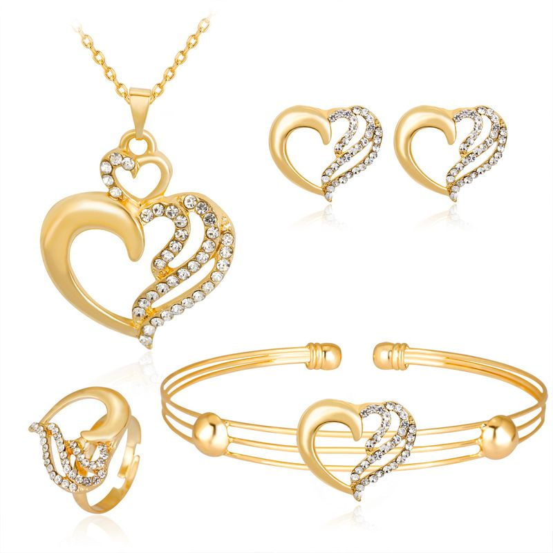Bohemian Jewelry Love Alloy Diamond Necklace Earrings Ring Bracelet Four-piece Set Available from Stock wholesale nihaojewelry NHDR225308